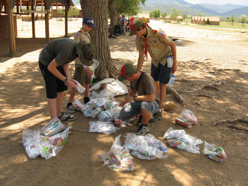 Sorting all of our meals for the next 4 days on the trail. Each plastic bag feeds 2 people and is coded for either Breakfast, Lunch or Supper.