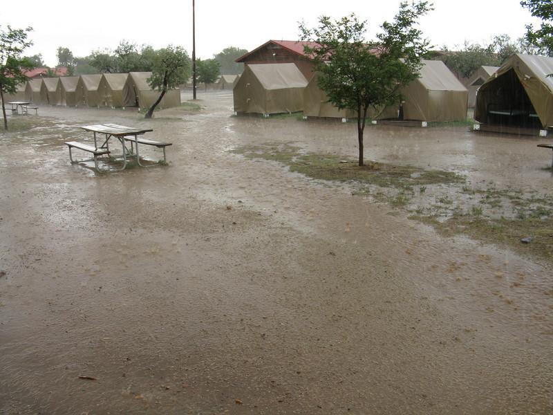 A mini flash flood swept through the camp. It rained hard for over an hour.