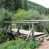 Bridge on the trail crossing the small creek next to the cabin.
