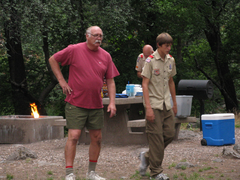 Bill, David and Travis at the campsite in Oak Creek Canyon.