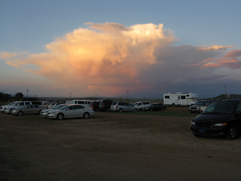 Thunderclouds at sunset.