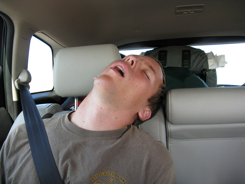 Next day on the road, Ian takes a nap.