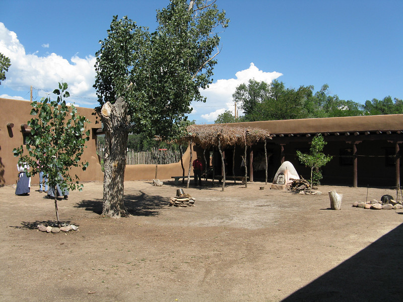 The courtyard had some activities going on. Cooking, tanning of hides and blacksmithing.