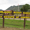The welcome sign to Philmont. You can see the Tooth of Time in the background.