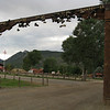 Another view of the front gate to Philmont with its collection of hiking boots.