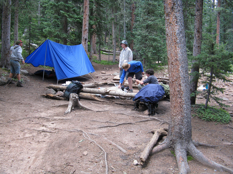 Setting up camp for our 9th night on the trail.