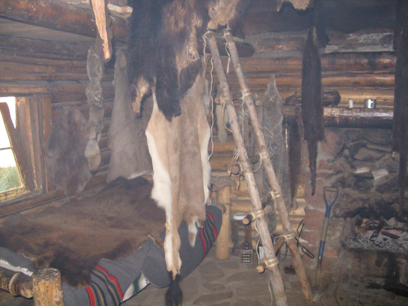 Inside the fur trappers cabin.