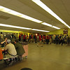 Lining up to eat dinner in the Dining Hall.