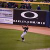 Ichiro catches a fly ball