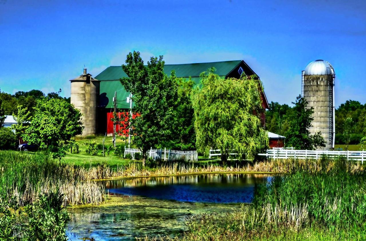 Pond and barn, Door County, Wisconsin.