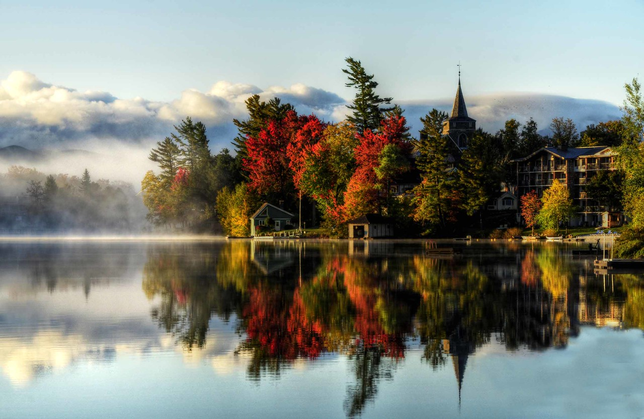 Mirror Lake in Lake Placid NY.