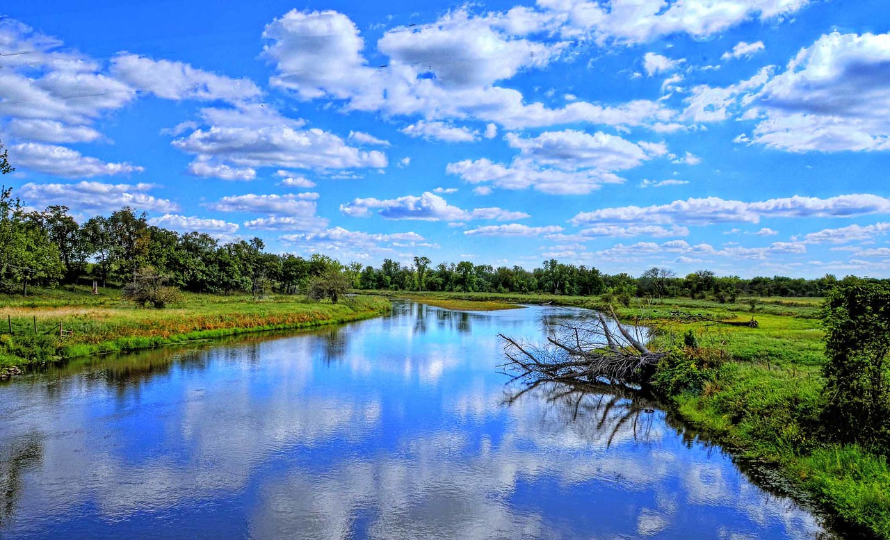 Sugar River late in the summer in rural Wisconsin.
