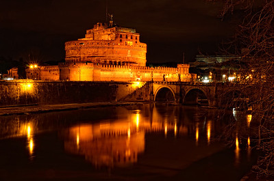 Castle Saint Angelo reflections in Tiber