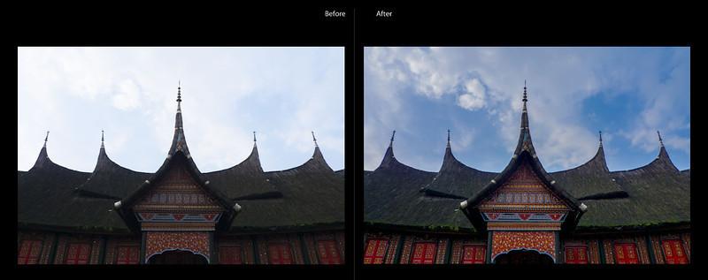 Mengembalikan detail langit dan menerangkan detail rumah