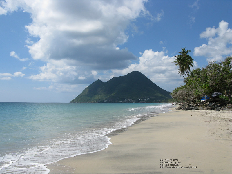 The beach along Anse Cafard is quite pleasant and swimmable. It is a long beach, and we could get to the beach and several restaurants from our villa by walking.