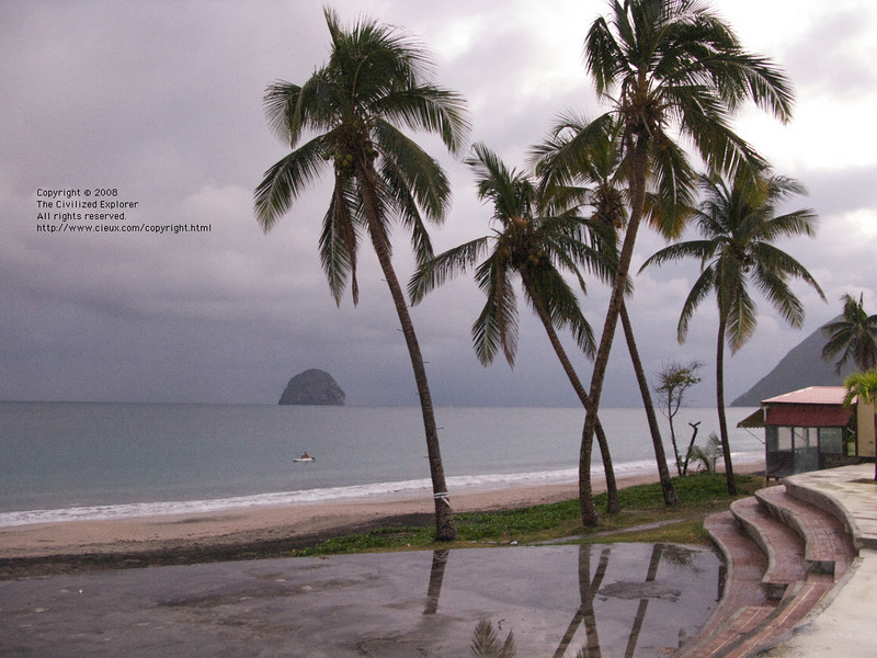 Another view from the village square of a kayaker along the beach.