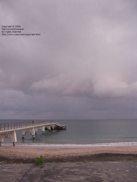 People fished off the end of the pier every time we were there. Here is more rain during out stay.