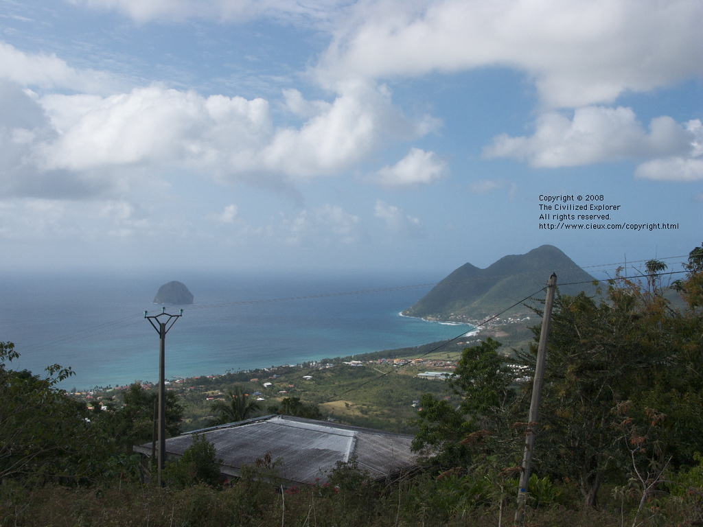 This is a view of Anse Cafard and Diamond Rock from a mountain.