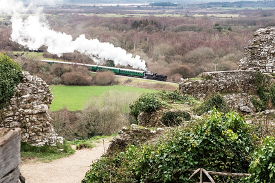 The passage of history - steam trains and ruins, Corfe Castle Wareham