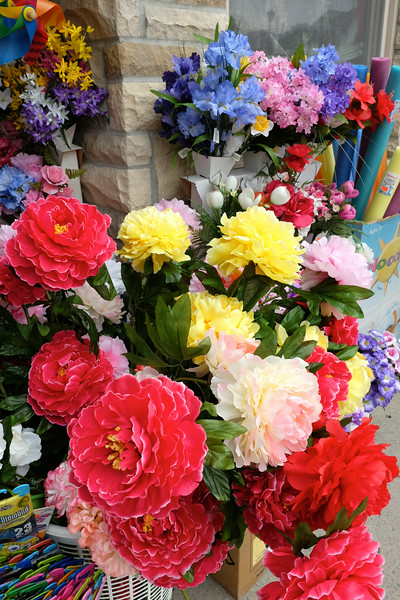 Colourful curbside flowers - the best quality plastic that money can buy.