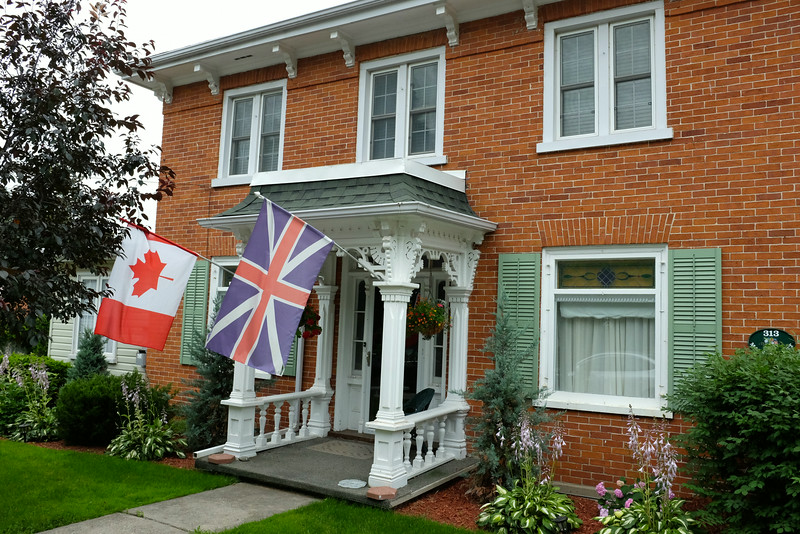 Another B&B showing equal preference for the Canadian and Union Jack flags. This area isa 'Loyalist' country, where the descendants of many new Americans came after they refused to swear allegiance to the American flag after their revolution.