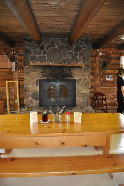 Stone fireplace at Sugar Moon Farm in Earltown, Nova Scotia