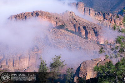 Morning Fog Around the Balconies from High Peaks Trail - The Pinnacles National Park