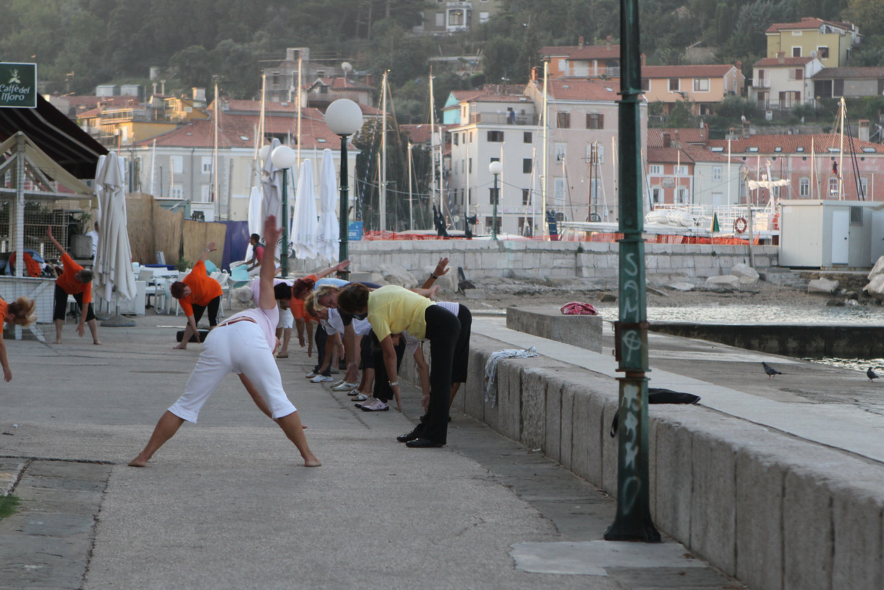 Early morning exercise by the Adriatic