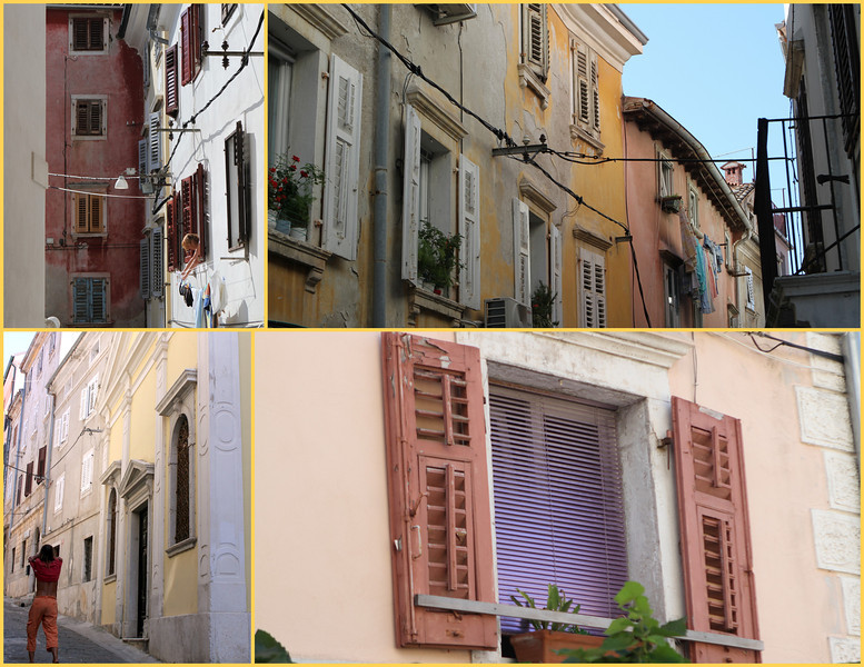 Rainbow colors for shutters, houses and light