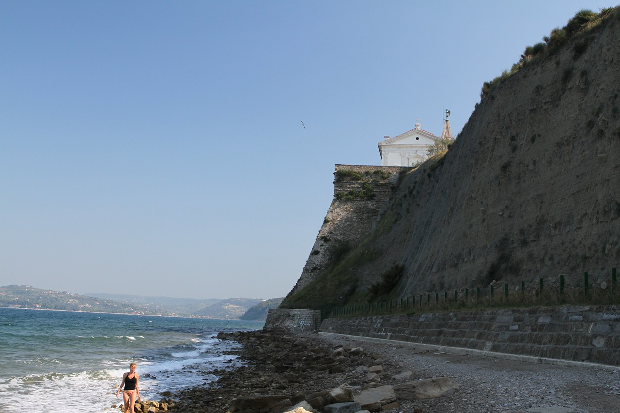 Our view: The Gulf of Trieste with the Cathedral of St. George on the ridge with town walls