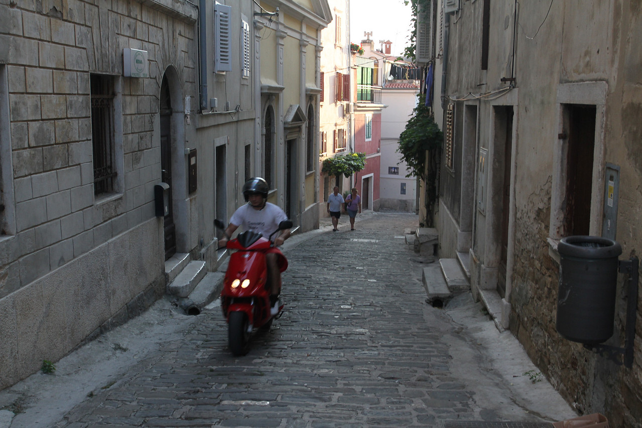 """No cars on these """"streets' - bikes, scooters and walkers only."""
