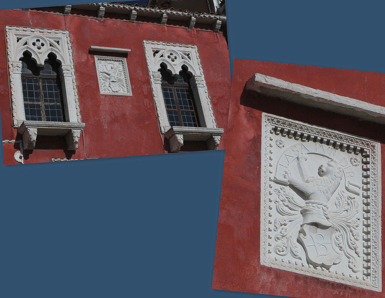 """There, betwen the two windows, for all of Piran to see is a stone relief of a lion with a banner in its mouth and the Latin inscription """"Lassa pur dir"""" above it.  The translation is a reminder for the merchant's loose lipped neighbors: """"Let them talk"""""""