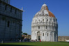 Pisa Baptistry. Most Baptistries are relatively simple inside and ornate outside, as this one is.