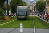 In downtown Nice, France, light rail on a carpet of grass gave a pleasing and friendly twist to the transportation system.