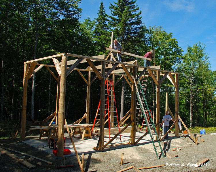 Getting ready to put up the first part of the ridgepole