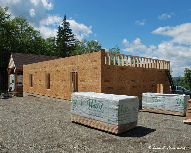 Not bad for one weekend's work.  All four walls are up and covered with sheets of Advantech