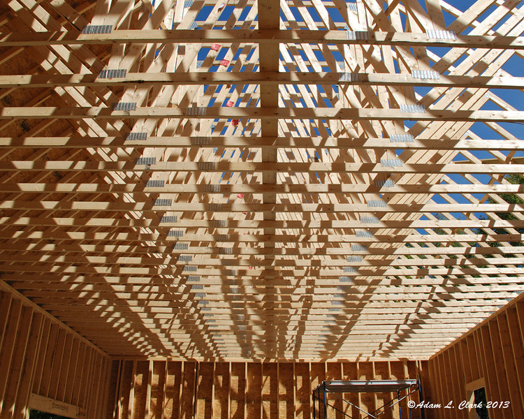 Looking at the trusses from inside the garage