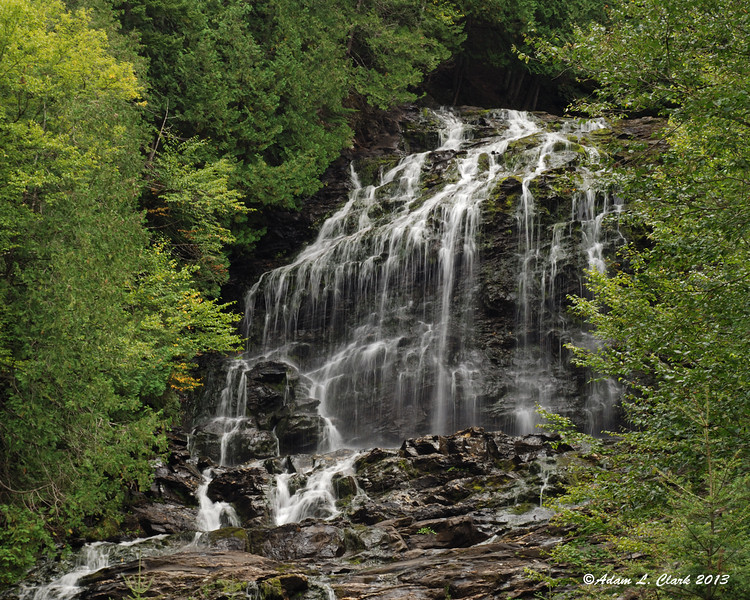 The upper section of Beaver Brook Falls in Colebrook