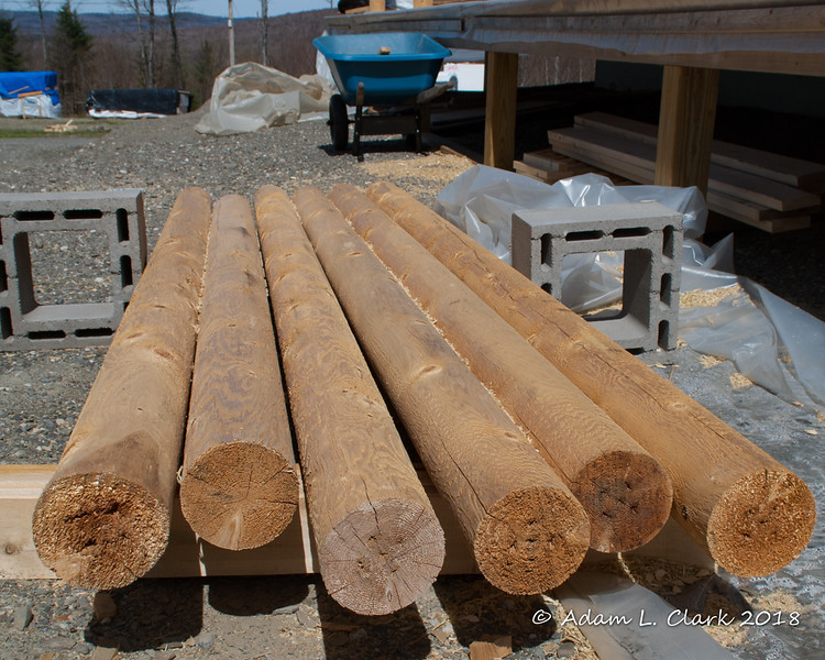 Posts that will be used for the upright pieces along the outside railing