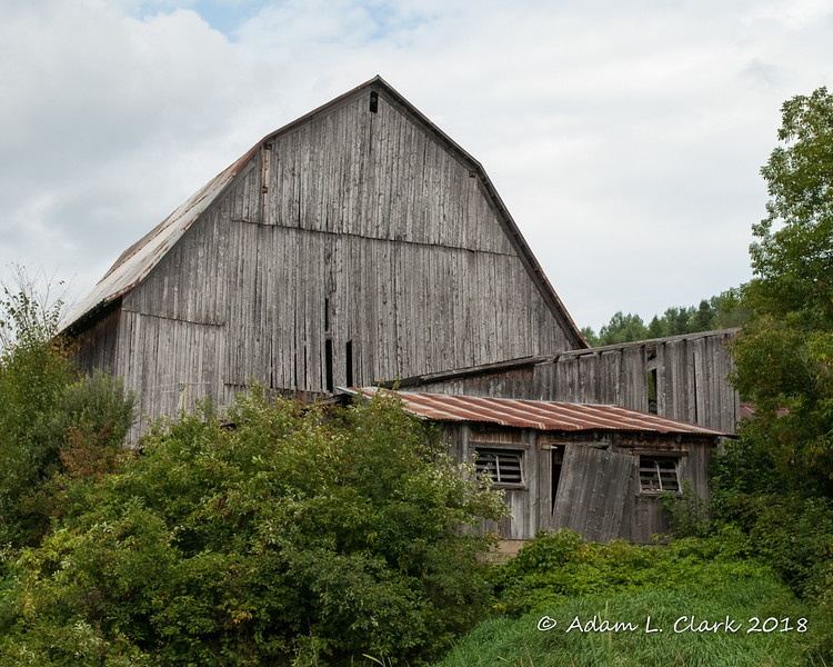 An old barn along the rail trail in Colebrook