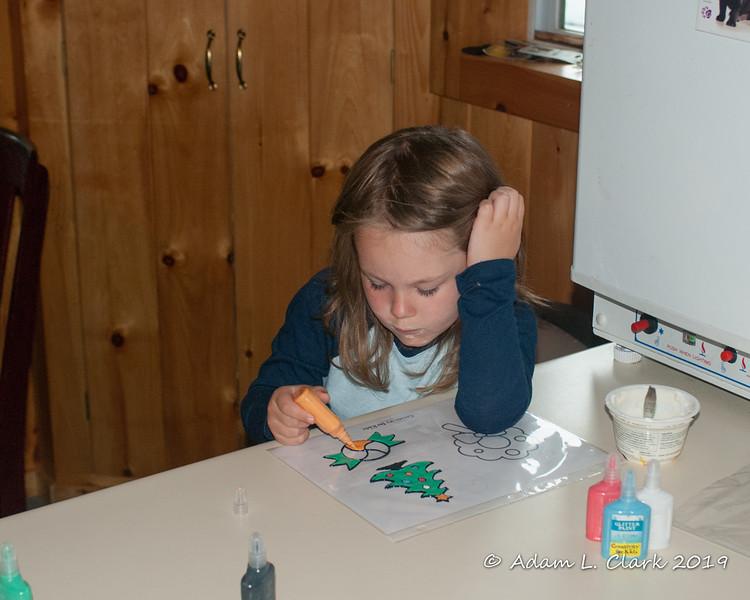 Making/Filling in a window sticker after breakfast one morning