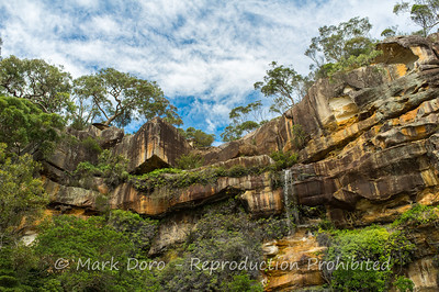 Waterfall over the Sandstone escarpment, Pittwater, NSW