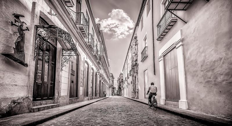 Taking a Bike Ride in Old Havana (BW)