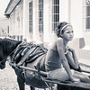 Young Girl on a Horse Carriage (BW)