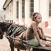 Young Girl on a Horse Carriage (Vintage)