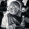 Elderly Lady and Her Corona (Black & White)