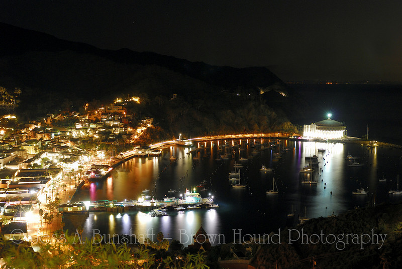 Avalon Harbor, with boats and Casino, Santa Catalina Island, California