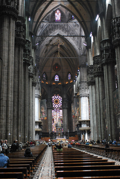 Inside the Duomo in Milan, Italy