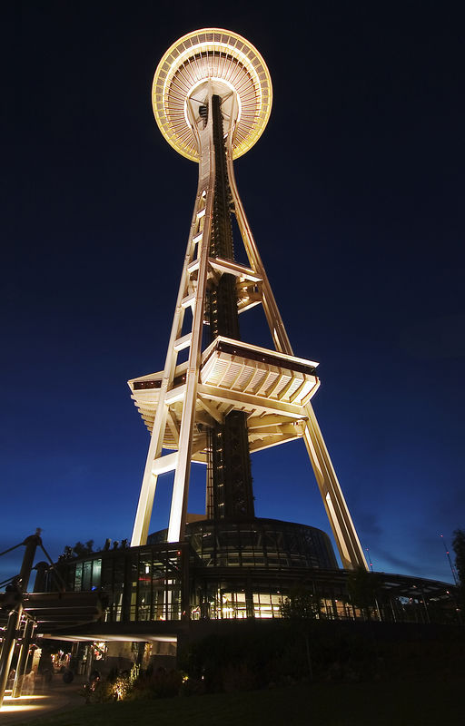 Space Needle, Seattle, WA, lit at night