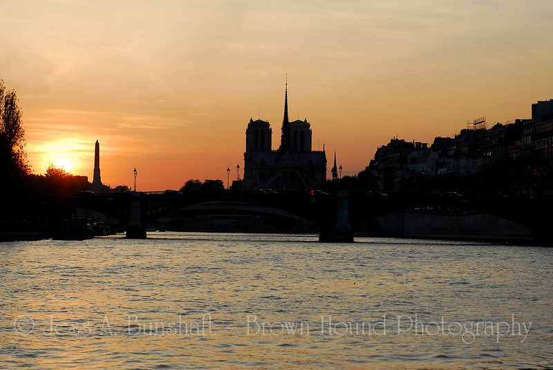 Cathedrale du Notre Dame at sunset, Paris, France